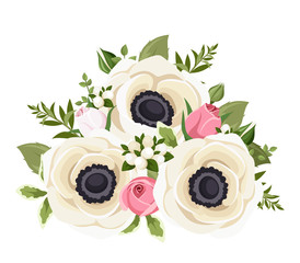 Bouquet of white anemone flowers and pink rosebuds. Vector.
