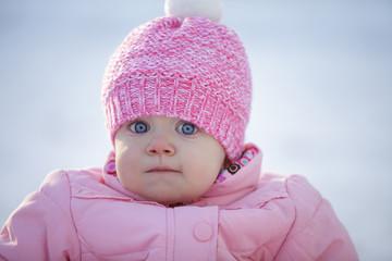 Happy baby girl, winter outdoor