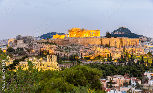 Aluminium Athene View of the Acropolis of Athens - Greece