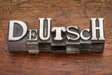 Deutsch word in metal type