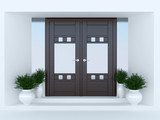 Wooden front door.