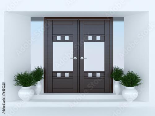 Leinwanddruck Bild Wooden front door.