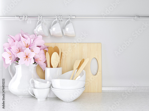 Foto op Plexiglas Koken Wooden and ceramic utensils.