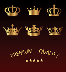 Crown Icons Set - Isolated On Black Background - Vector