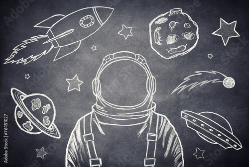 Deurstickers Ruimtelijk The cosmonaut