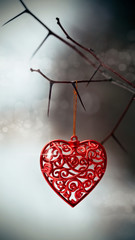 Red heart on prickly branches.