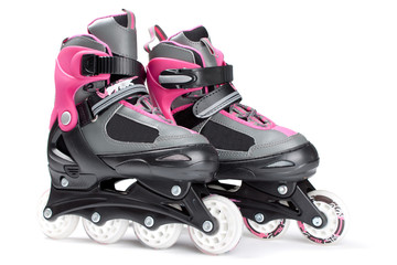 Pink roller skates isolated on white background