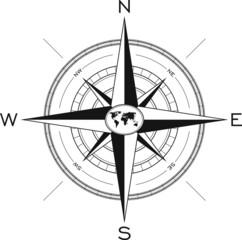 Windrose mit Weltkarte