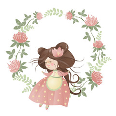 Cute girl in flower wreath