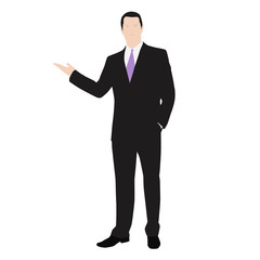 Vector drawing of a successful man dressed in a suit. Presentati