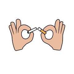 hands breaking the cigarette