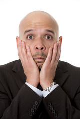 surprised businessman scared, shocked and confused