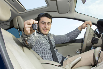 Portrait of driver young man