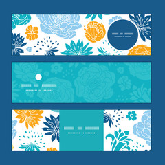 Vector blue and yellow flowersilhouettes horizontal banners set