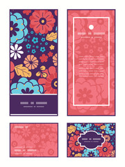 Vector colorful bouquet flowers vertical frame pattern
