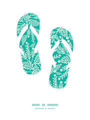 Vector emerald green plants flip flops silhouettes pattern frame