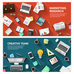 Marketing research and creative team concept