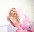 Romantic blonde woman posing.