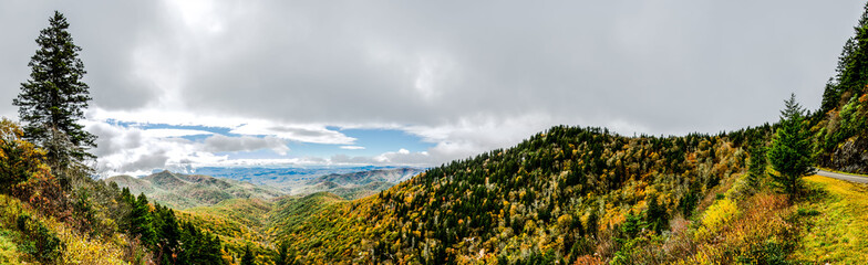 Sunny Panorama from Lookout on Blue Ridge Parkway
