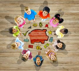 Multiethnic Group Children Saving Kids Concept