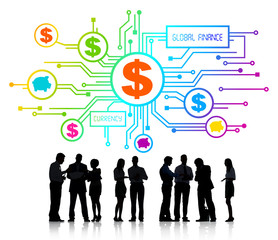 Silhouette Group of Business People Global Finance Concept