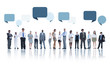 Multiethnic Group of Business People Speech Bubbles Concept