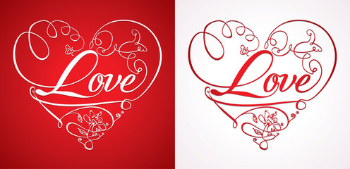 Love Heart. Romantic card. Two options.