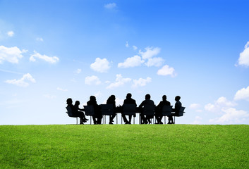 Green Business People Discussion Communication Outdoors Concept