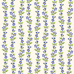 Blue flowers green leaves pattern repeat background.