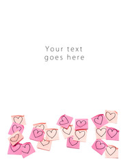 Pink post-it with drawn hearts greeting card vertical