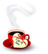 Red cup of coffee with a heart shaped valentine note. Vector.