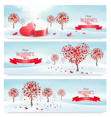 Holiday retro banners. Valentine trees with heart-shaped leaves.