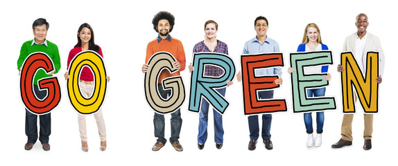 Multi-Ethnic Group of People Holding Go Green Text