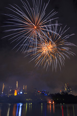 Festival with fireworks in Brisbane City, Queensland, Australia