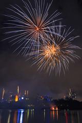 Festival with fireworks in Brisbane City, Queensland, Australia