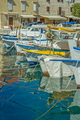 Moored boats in Supetar