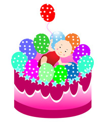 Cute baby on top of the cake and holding a balloon