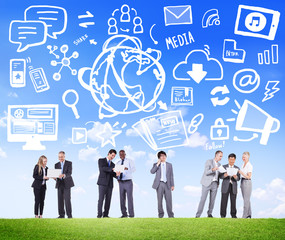 Business People Global Media Technology Discussion Concept