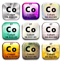 A button showing the element Cobalt