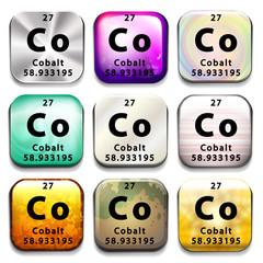 A button showing the element Cobalt