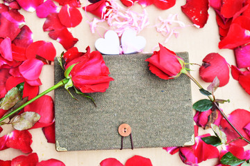 Happy Valentines day with Roses and hearts background;