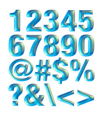 Blue metallic font. Number set