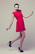 canvas print picture - young elegant woman in red dress, fashion studio shot