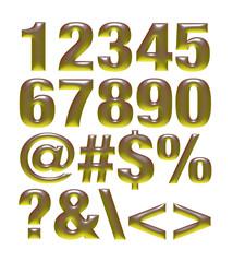 Yellow metallic font. Number set
