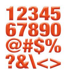Red metallic font. Number set