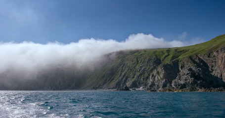 Rocky coast, covered in mist.