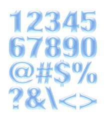 Light blue metallic font. Number set