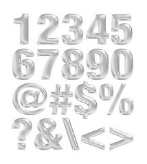 Silver grey metallic font. Number set