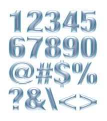 Transparent blue metallic font. Number set