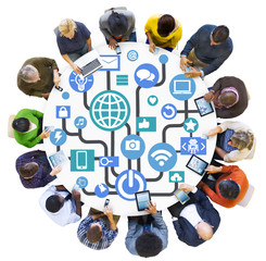 Global Communications Social Networking Digital Device Concept